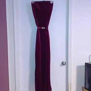 Long Burgundy Red Velvet Strapless Gown & Belt